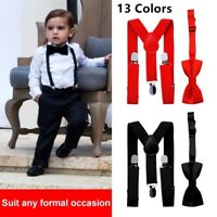 Elastic Adjustable Suspender and Bow Tie Matching Set for Boys Child Kids DN
