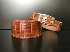 S/M Leather Dog Collar LINED Lurcher Whippet Saluki BROWN REPTILE LARGE PATTERN