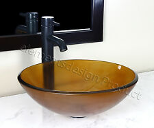 Bathroom Frosted Amber Glass Vessel Vanity Sink Oil Rubbed Bronze Faucet 12.6FE3