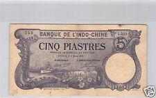 BANK- DES'INDOCHINA SAIGON 5 PIASTER 5 MÄRZ 1920 L.225 NR. 755 PICK 40