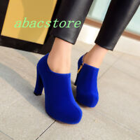 Women Solid High Stiletto Heel Platform Ankle Boots Side Zip Round Toe Shoes New
