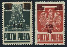 Poland 346,364,hinged.Mi 408-409. Grunwald Monument,Polish Eagle,new value 1945.