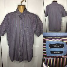Giordano Large 41/42 Shirt Regular Fit Striped Short Sleeves Cotton