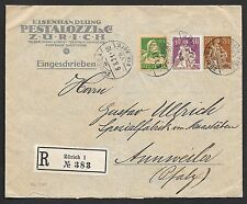 Switzerland covers 1921 censored uprated PRIVATE R-cover Zürich to Annweiler