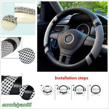 DIY Durable 38cm Car Microfiber Leather Ice Silk Steering Wheel Cover Breathable