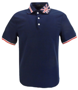 Mens Navy Union Jack Collar Retro Polo Shirts