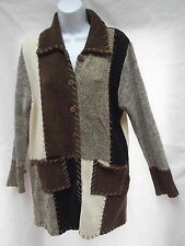 kathy levine velour brn color block patchwork tunic cardigan sweater dress S M