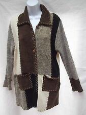 kathy levine velour brn color block patchwork tunic cardigan sweater dress S M