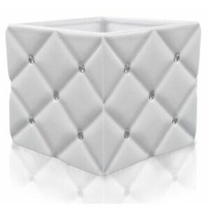 White Ceramic Flower Pot Cube With Zircons Home Decor Modern Plant Holder Pots