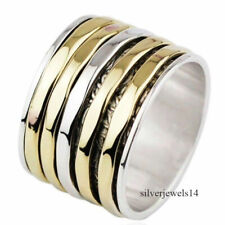 Spinner Ring 925 Sterling Silver Brass Two Tone Wide Band Meditation Ring gs276