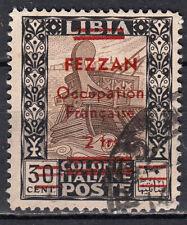 A-2383-FEZZAN Occupazione 1943 Francobollo Libia sovrastampato Sas. 4 usato