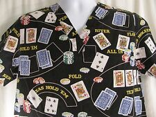Cherokee Sz Small Black Poker Gambling Scrub Top Medical Uniform V Neck Nursing