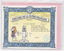 NEUF CARTE DIPLOME FRANGINE + ENVELOPPE  !! 10 CARTES ACHETEES = PORT GRATUIT