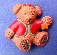 BUY1&GET1@50%~Hallmark PIN Christmas BEAR Girl TEDDY w GOLD STAR Vtg Holiday