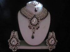 INDIAN BRIDAL CZ STONE PURPLE & SILVER STONE DIAMANTES NECKLACE SET