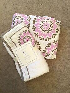 Pottery Barn Kids purple Dahlia pillow sham with crib sheet