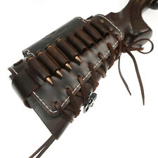 Leather Rifle Shell Holder, Gun Buttstock Ammo Pouch with 3X EVA Cheek Rest Pad