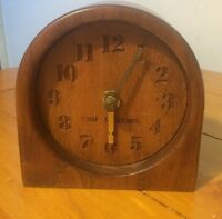 Eric Albinson Wooden Desk Clock Decorative Time Art Collectible Made in England