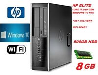 Fast HP Core i5 PC COMPUTER DESKTOP 8GB 500GB HDD WIN 10 PRO WiFi EXTREME JOB