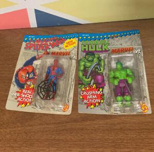 Vintage Marvel Super Heroes Lot Spiderman Hulk Complete Loose With Card
