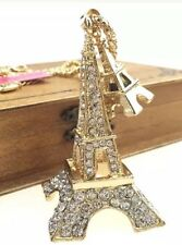Betsey Johnson Necklace EIFFEL TOWER PARIS Gold Crystal GIFT BOX & BAG