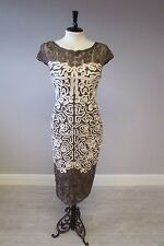 PHASE EIGHT AKIKO OCCASION DRESS - SIZE 10 -  COFFEE/CREAM - NEW