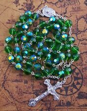 Catholic Rosary Green Crystal Beads Cross Necklace Holy Mary Crucifix Jerusalem