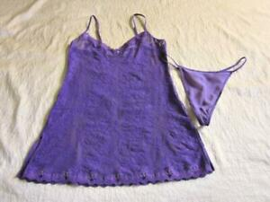 Victoria's Secret Sheer Lace Chemise + Silk Thong Set M/L Purple Stretchy NEW