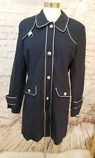 DIALOGUE Womens Coat Sz M Trenchcoat Navy Blue Silver Trim