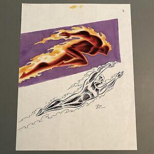Original Art BRUCE TIMM signed GA HUMAN TORCH art x2, Ink AND Color Marker Comp