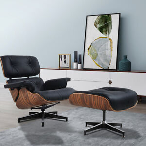 Italian TOP Aniline Black Real Leather Lounge Chair Ottoman Mid-Century Rosewood