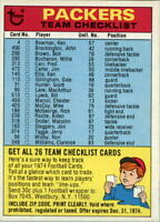 1974 Topps Team Checklists #10 Green Bay Packers - EX