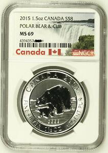 2015 Canada $8 .9999 1.5 Oz Polar Bear & Cub Silver Bullion Coin NGC MS69