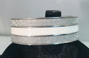 Beautiful White Enamel Silver Tone Glitter Sparkle Hinged Clamper Bracelet