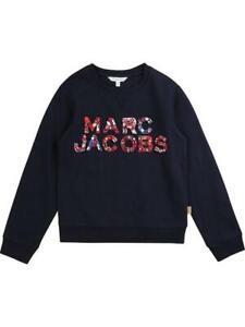 `Little Marc Jacobs Girls Embellished Logo Crew Sweater Navy