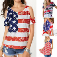 Women T-Shirt Strapless Patriotic American Flag Star Printed Cropped Top Blouse