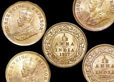 Six (6) British India George V Twelfth of an Anna Coins 1910-1936  KMM509 AU-UNC