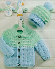 """Baby Chunky Jacket with Collar & Bobble Hat 18"""" - 26"""" Knitting Pattern"""