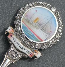 ELDER DEMPSTER LINE RMS PORT ANTONIA FINE SOLID SILVER HANDPAINTED SPOON 1909