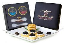 1oz Royal Osetra + 1oz Siberian Sturgeon Black Caviar GIFT BOX w BLINI + Spoons