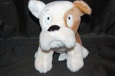 """Bulldog Puppy Dog Brown White Red Collar Embroidered Eyes Hallmark Plush 9"""" Toy"""