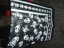 Woman Chiffon Black Skull Cross Bone Scarf Wraps
