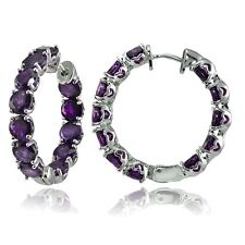 Sterling Silver African Amethyst 28mm Hoop Earrings