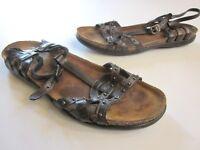 Naot Black Leather Sandals Ankle Strap Slingback Sz 38 EU 7 US (A05)