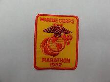 MILITARY PATCH COLORED SEW ON OLDER VINTAGE US MARINE CORPS MARATHON 1982 USMC