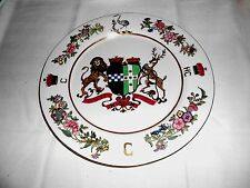 """Antique Rare Chinese Armorial Crest Monogrammed 12"""" Plate Asian Red Stamp"""