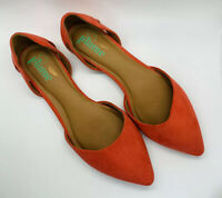 Anthropologie Size 9 Plume by Faryl Robin Pointy Toe Flats Shoes Orange New Dirt
