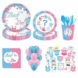143 Pc Gender Reveal Party Supplies serve 8 Tableware Kit Boy or Girl photo prop