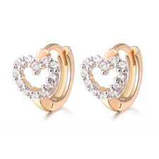 18 k Gold Plated Baby Girl Christening Sweet Hearts Hoops First Earrings E1273