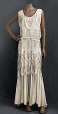Bridal superbe original 1930 S étage longueur soie ornée nude dress Rp £ 1400